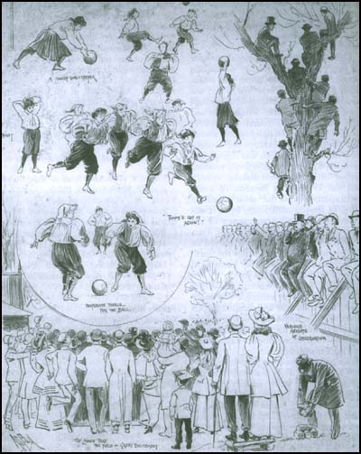 Early caricature of female footballers from 1895, courtesy of Spartacus