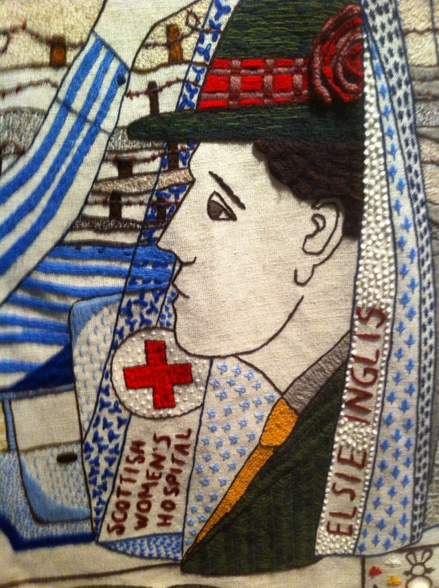 Elsie Inglis with hat in the Great Tapestry of Scotland