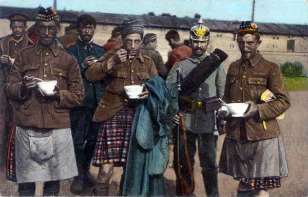 Scottish prisoners of war enjoying a bowl of soup. Courtesy, Great War in Color